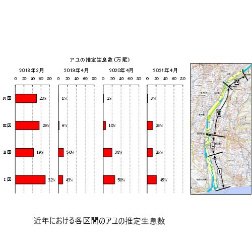 近年における各区間のアユの推定生息数.png
